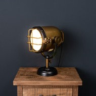 Brass And Black Industrial Spotlight Table Lamp in use