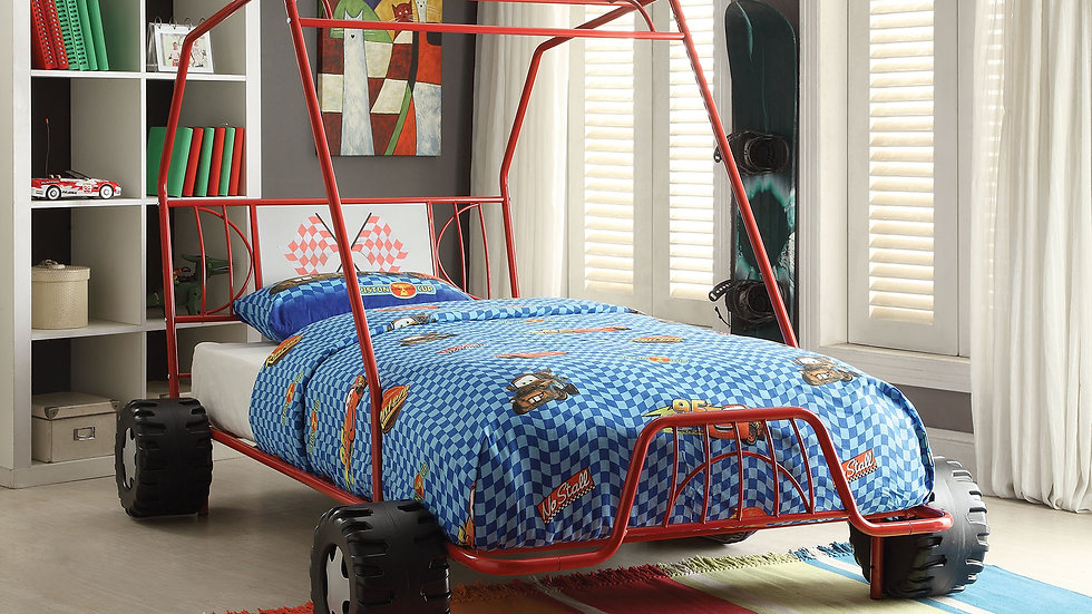 """84"""" X 56"""" X 51"""" Twin Red Go Kart Metal Tube Bed"""