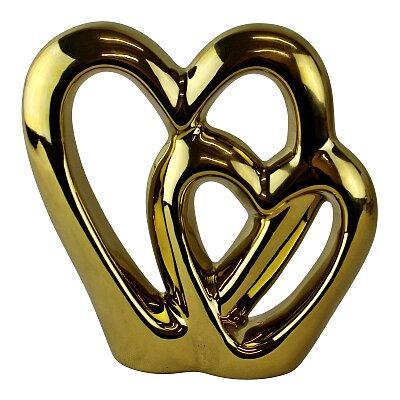 Gold Double Heart Ornament - 15cm