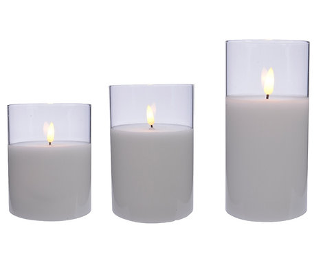 LED Wax Candle In Glass - Set of 3