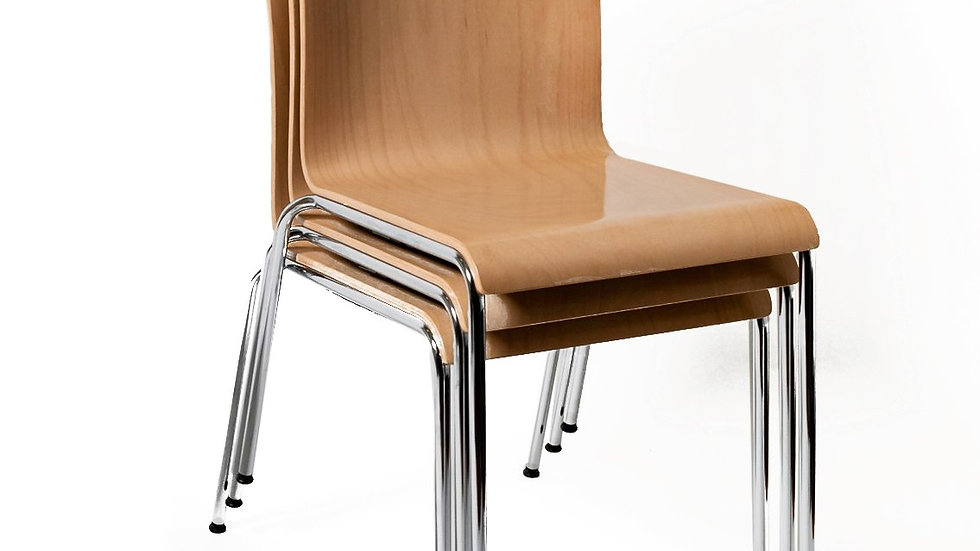 Stackable Wood Chair in Beech, Natural lacquered