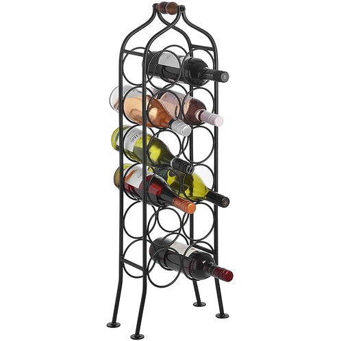 12 Bottle Wrought Iron Wine Rack in use