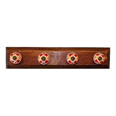 Set of 4 Kasbah Design Coat Hooks On Wooden Base