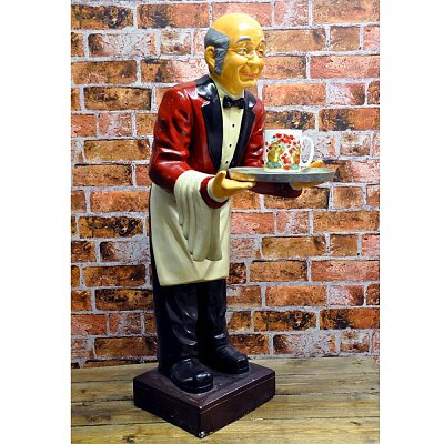 Old Man Waiter with Tray - 90cm