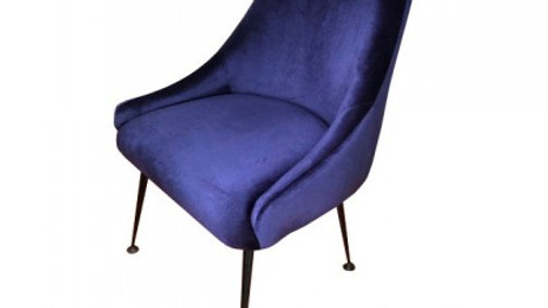 "23"" X 25"" X 35"" Cobalt Blue And Matte Black Polyestermetal Chair"