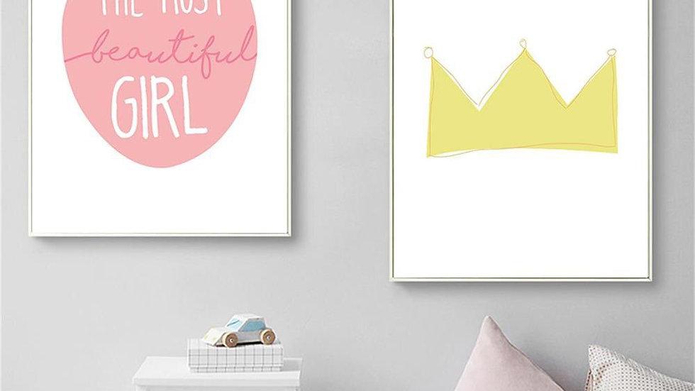 Baby Girl Nursery Wall Art Canvas