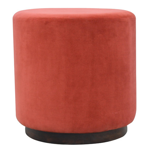 Large Velvet Footstools with Wooden Base