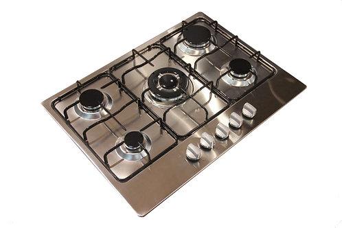 Kitchenplus KP55 70cm Stainless Steel 5 Burner Gas Hob