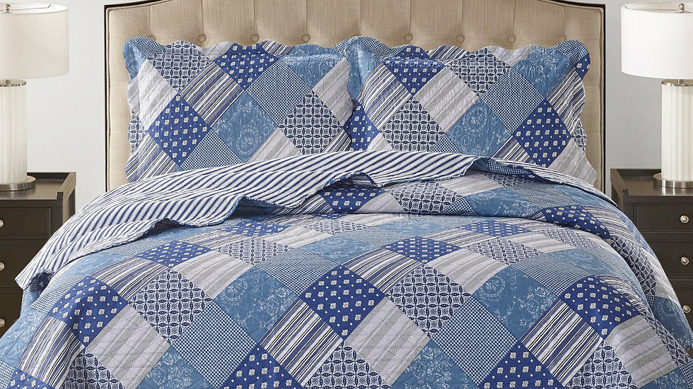 Jennifer 3 Piece Quilt Set - Blue