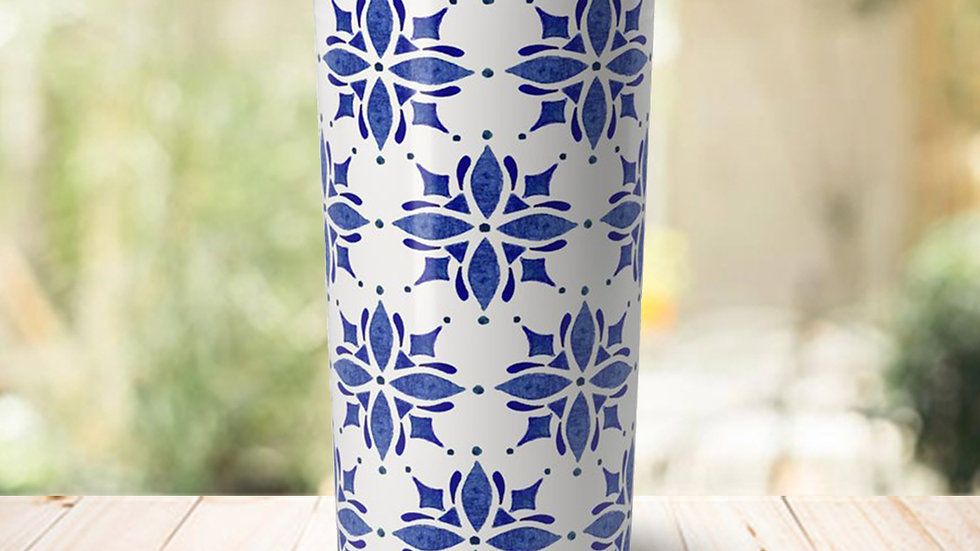 Dark Blue Tile Travel Coffee Mug
