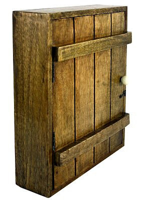 Rustic Solid Wood Wall Hanging Key Cabinet with 6 Hooks