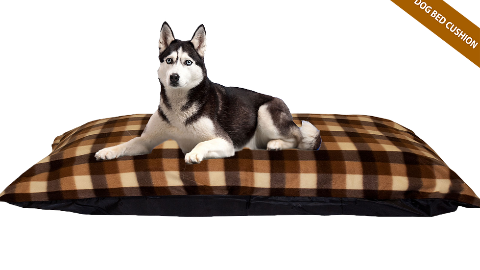 Brown Check Cushion Dog Bed Fibre+Foam Filled Removable Fleece Cover