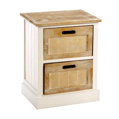 White Wooden Cabinet 2 Drawer - 38 x 28 x 48cm