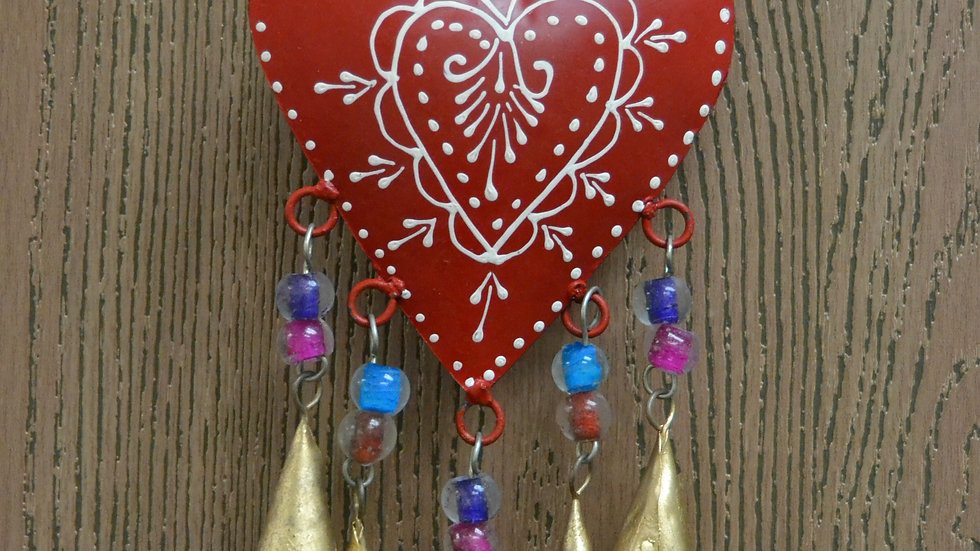 Handmade Red Heart Rusty Iron Metal Windchime