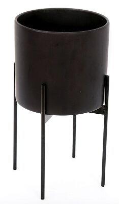 Black Ceramic Planter With Metal Stand