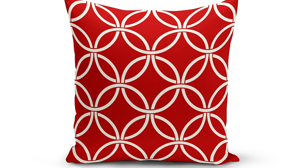 Red Circle Interlock Pillow Cover