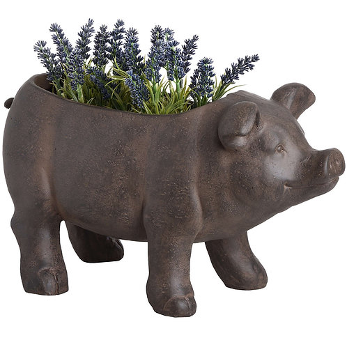 Rustic Pig Planter in use
