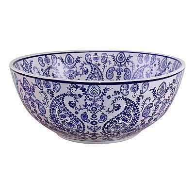 Large Ceramic Bowl, Vintage Blue & White Paisley Design