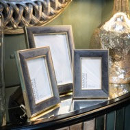 Grey Velvet With Gold Frame
