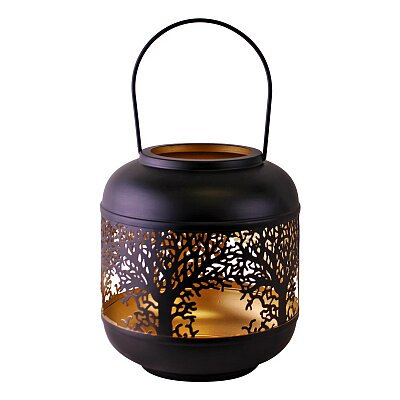 Tree Of Life Cutout Design Black Candle Lantern