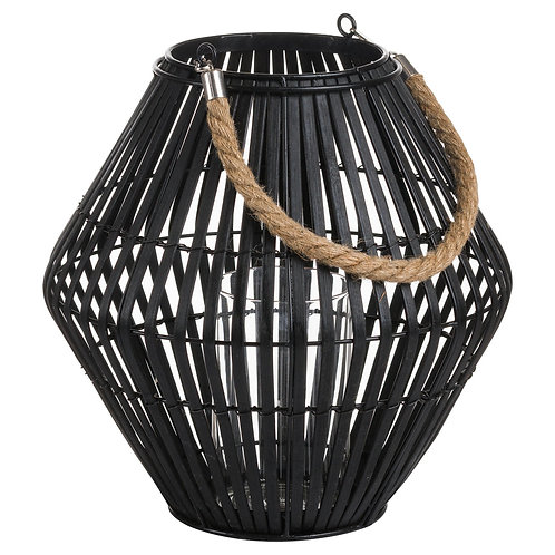 Black Rattan Convex Lantern