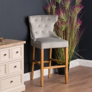 Hill Interiors Navy/Grey Velvet Tufted High Bar Stool