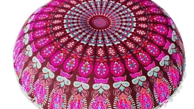 Indian Mandala Pillows Round Bohemian Cushion Cover