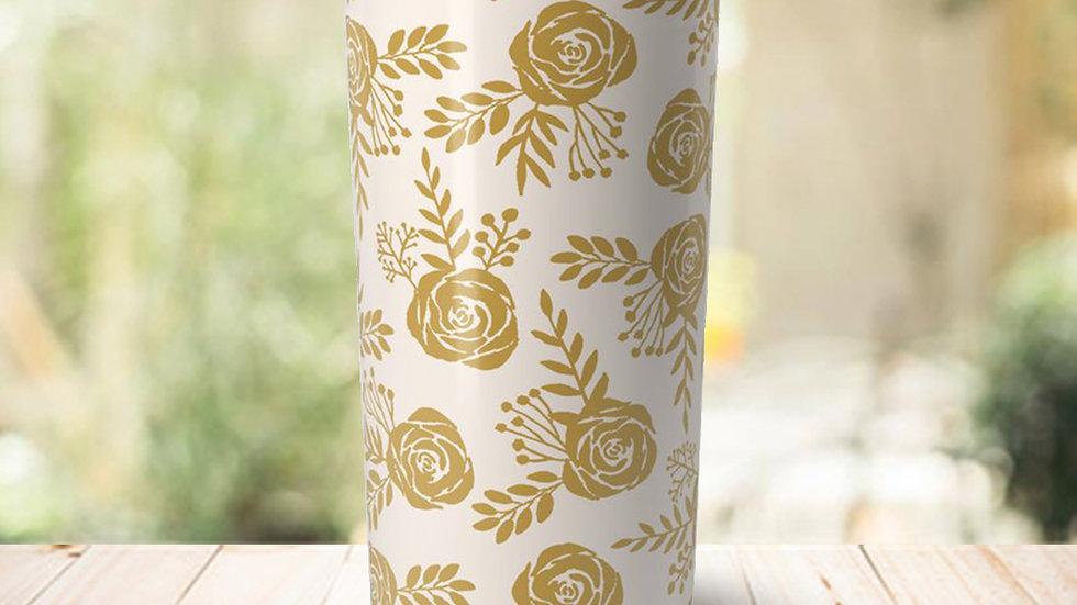 Warm Gold Floral Travel Coffee Mug