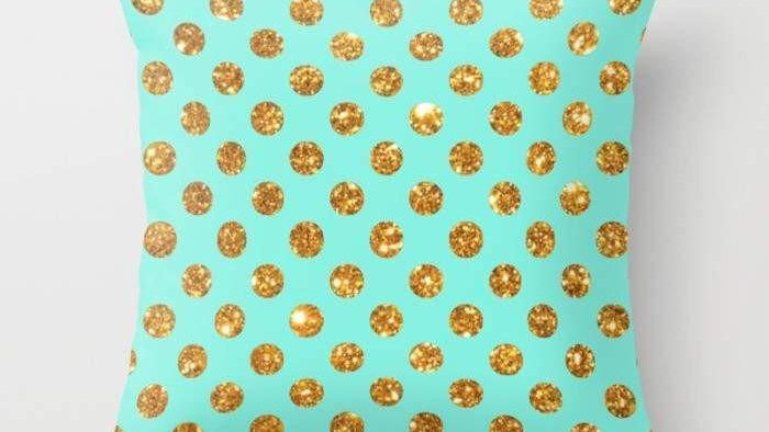 Chic Gold Glitter Polka Dots Pattern Cushion/Pillow