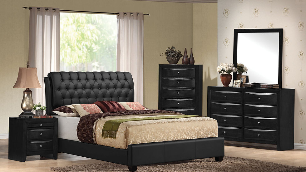 """90"""" X 79"""" X 49"""" King Black Pu Button Tufted Bed"""