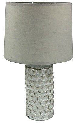 White Beveled Lamp And Shade - 38cm
