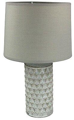 White Beveled Lamp And Shade - 38cm