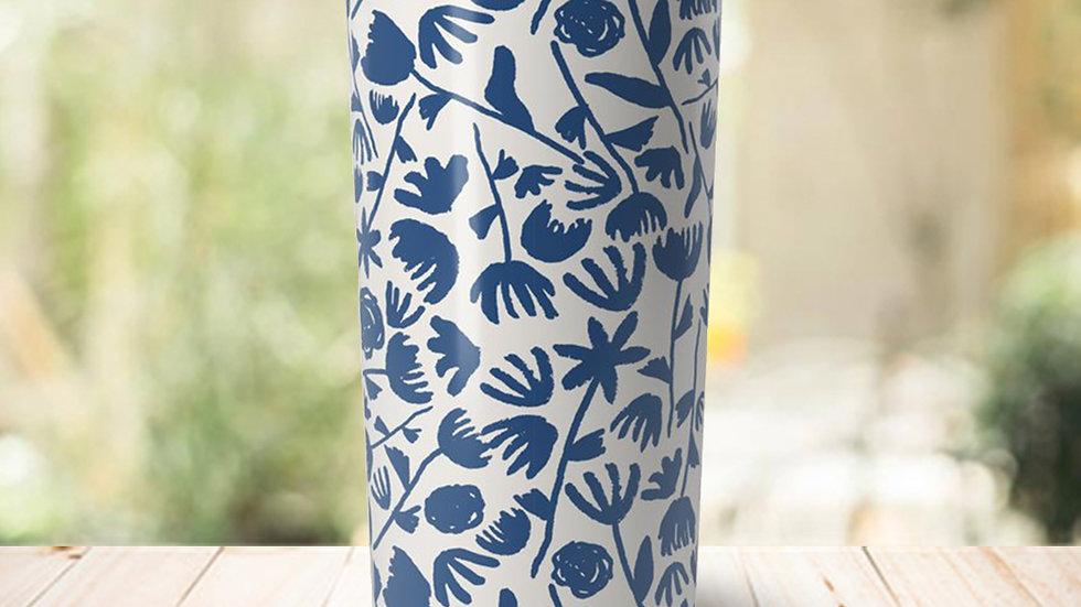 Dark Blue Floral Travel Coffee Mug