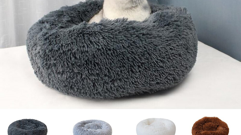 Soft Plush Round Pet Bed For Cats Warm Cat Bed