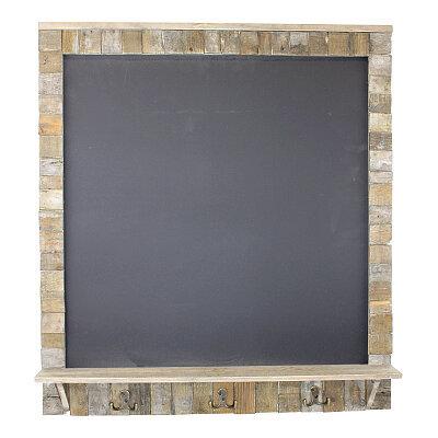 Large Blackboard with Driftwod Effect Surround, Shelf and 3 Double Hooks