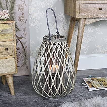 Large Wicker Bulbous Lantern in use in doors