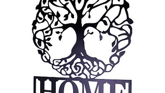 "Black Metal Wall Plaque ""Tree of Life"" Featuring Hooks"