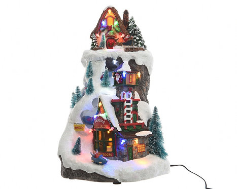 LED Bobsled Mountain winter scene piece