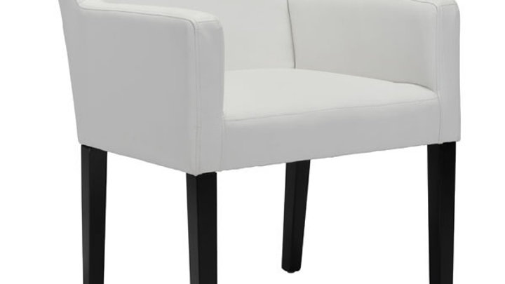 Dining Chair in White Leatherette