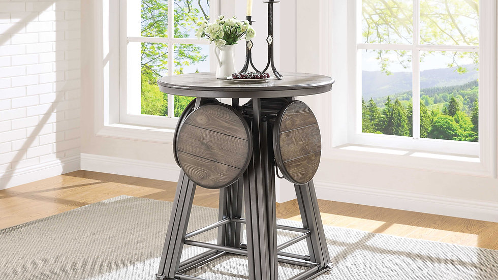 Counter Table & Stools - Grey Oak & Bronze