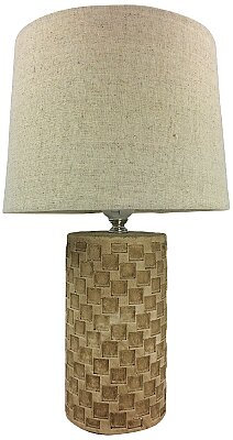 Beige Tile Lamp And Shade - 38cm