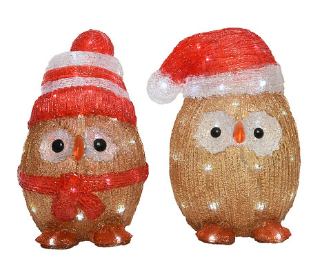 Pair of LED Acrylic Owls by Kaemingk