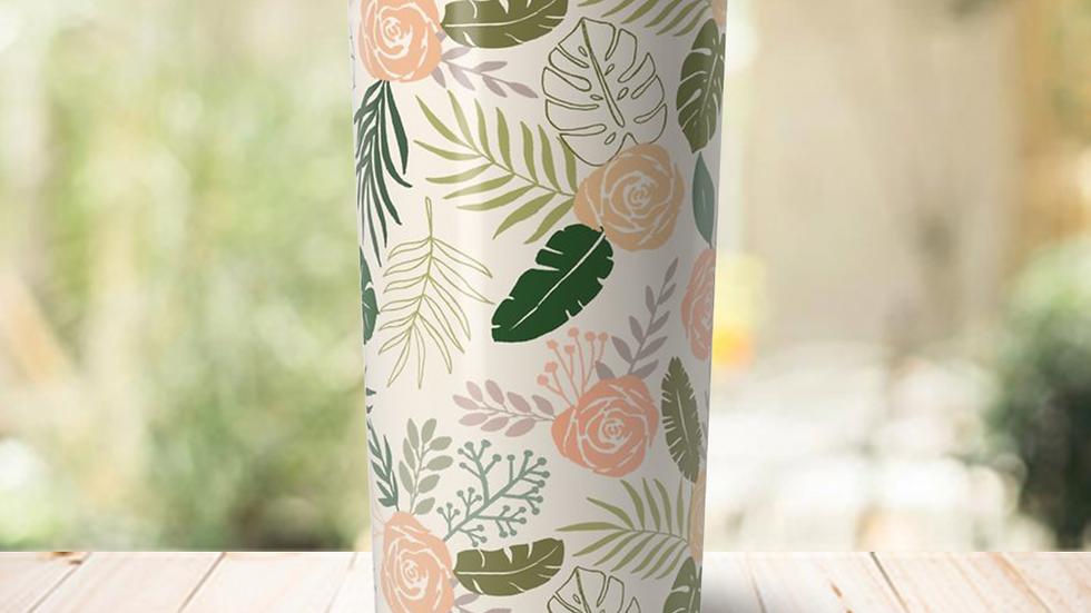 Yellow & Green Tropical Floral Travel Coffee Mug