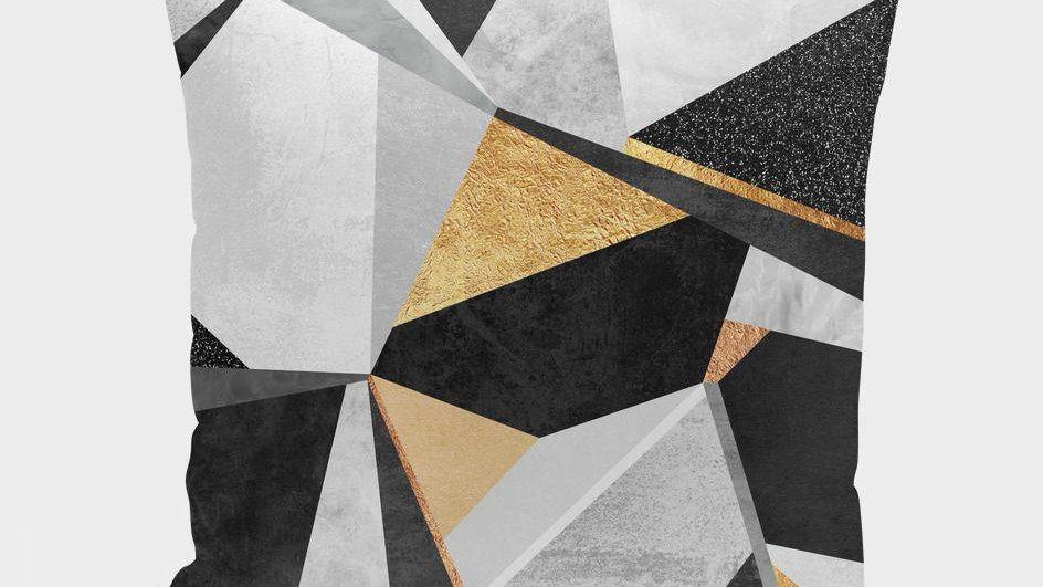 Geometry  Gold Cushion/Pillow