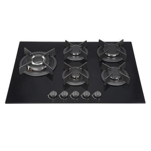 Kitchenplus Gas Burners On Black Glass Hob 5 Burner - 700mm