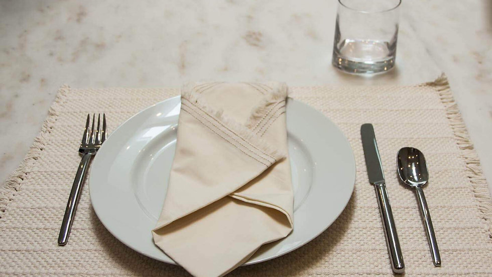 100% Organic Cotton Percale Napkins with Triple Edge Stitching (Set of