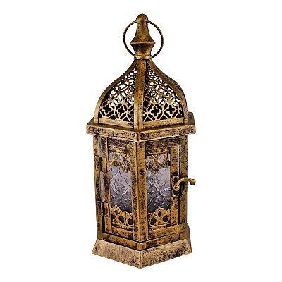 Large Gold Metal Moroccan Style Kasbah Candle Lantern