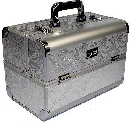 Geko Vanity Case / Makeup Box - Silver Leaf Design