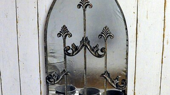 Rusty Wall Mirror With Triple Planter Pots