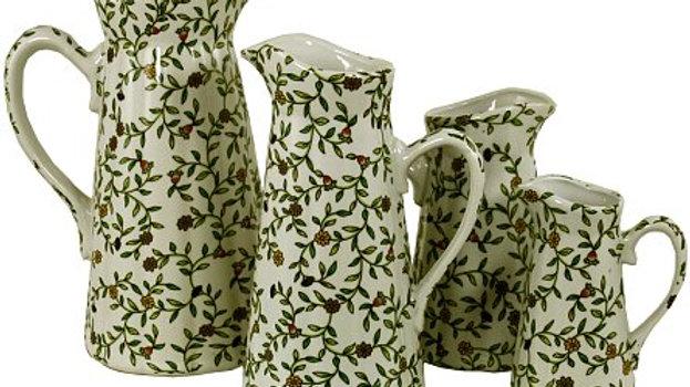 Set of 4 Ceramic Jugs - Floral Design